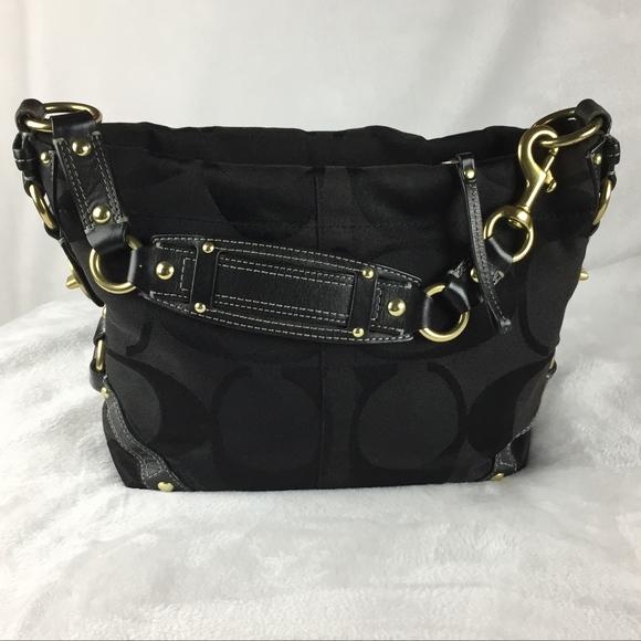 Coach Handbags - Coach  Black Signature Canvas Carly Bag  eb36d72ed9